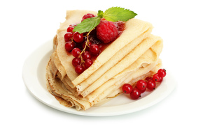 red, viburnum, Pancakes, currant, yum-yum, raspberries, food, Pancakes, With, berries