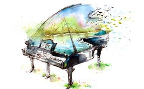 озеро, птицы, рисунок, ноты, рояль, арт, акварель