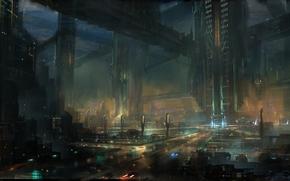 Art, lights, future, night, city, megalopolis