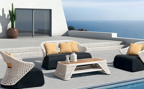 терраса, стиль, бассейн, интерьер, дизайн