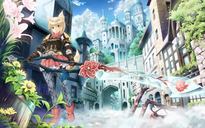 anime, Flowers, sword, city