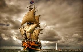 mer, naviguer, bateau, NUAGES, voilier, ciel, expédier