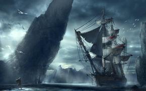 корабль, человек, гора, море, пейзаж