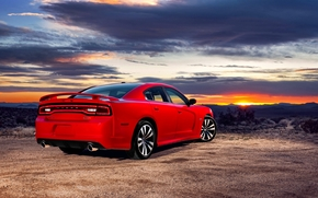 dodge, Sedan, Dodge, sky, red, Car, sunset, evening