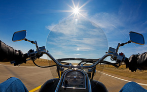 bike, full throttle, view, road, speed, motorcycles, sun, first, from, nature, face, motorcycle, movement, Biker