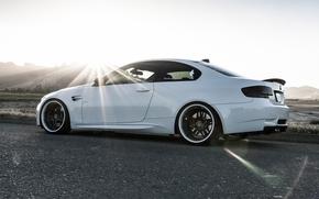 бмв, белый, закат, профиль, BMW
