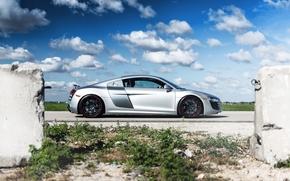 серебристый, чёрные, профиль, ауди, диски, Audi