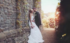 bride, dress, Love, groom, kiss, suit
