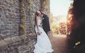 Amor, noivo, vestir, beijar, noiva, terno