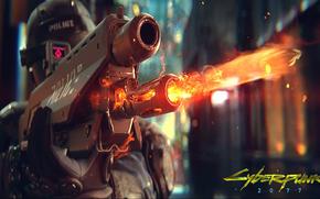 jogo, cyberpunk, capacete, brotos, fogo, arma, pol?cia