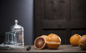 still life, table, oranges, knife