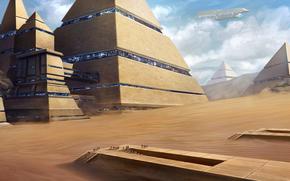 city, pyramids, ship, Art, people, desert