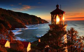 滨, 海, 性质, 灯塔, 美国, 照片