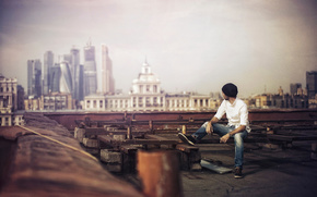 photographer, city, roof