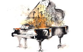 рояль, ноты, дождь, люди, акварель, арт, рисунок, город