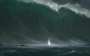 波, 船, 海, 航行, 风暴