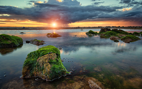 bay, sunset, rain, ALGAE, clouds, stones