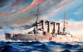 """Scharnhorst"", sea, artist M.Goncharov, German Imperial Navy, armored cruiser, drawing, Art"