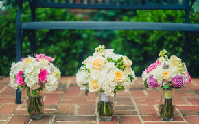Flowers, bouquet, Vases, Roses, wedding