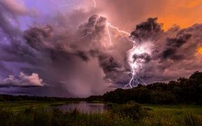 молнии, облака, деревья, тучи, озеро, шторм, природа, небо, вечер, Гроза