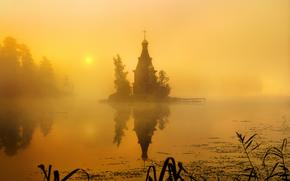 Igreja de St. Andrew, nevoeiro, Rússia, manhã, Vuoksa