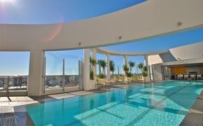 интерьер, стиль, пентхаус, бассейн, дизайн, город