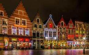 noite, Bélgica, área, Grote Markt, Bruges, Natal, luzes