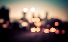 city, bokeh, Multicolored, lights, Macro