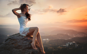 height, landscape, distance, girl, beauty, view, admiring the sunset, city, wind