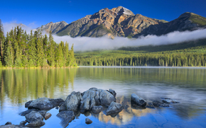 forest, top, clouds, stones, trees, sky, lake, Mountains
