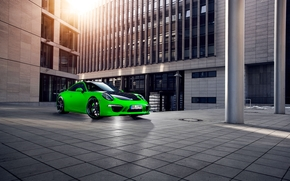 sports car, city, Porsche, Green, Porsche, building