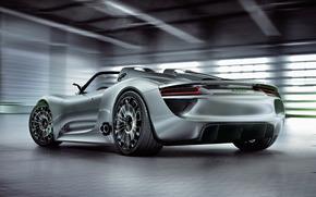 красивый, концепт, Porsche, автомобиль, задок
