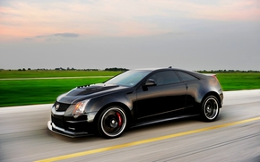 Cadillac, Coupet, Cadillac, in motion, black, Car, tuning