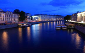 lights, petersburg, lights, Peter, river, night, Fontanka