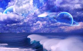 небо, облака, кольца, звезды, море, волны, планета, космос