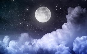 лунный свет, небо, Луна, облака, полная луна, звезды, полночь, ночь, пейзаж, красивая сцена