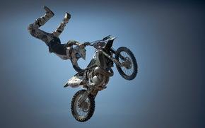 мотоцикл, прыжок, спорт, небо