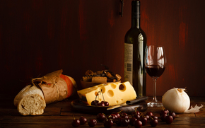 long loaf, BERRY, Cherry, red, bottle, stemware, wine, cheese, bread, Cherry