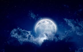 sky, moonlight, landscape, beautiful scene, full moon, night, cloudy night, moon