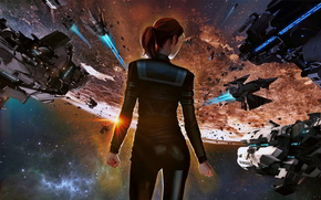 Ancient space, Sci Fi, girl, fighting