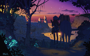 Star, girl, Cap, sunset, nature, city, Art, sky, trees, forest, horse, anime, lights, plants