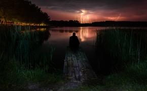 Гроза, молния, свет, гром, вода, ночь, ветер, человек, дождь.