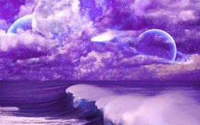 cielo, nuvole, Anelli, Stella, mare, onde, pianeta, spazio