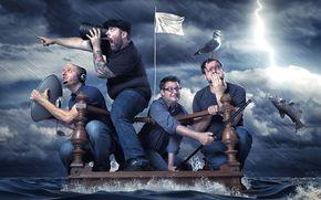 burza, tratwa, mężczyźni