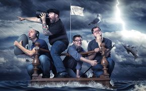 шторм, плот, мужики