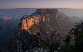 закат, туман, каньон