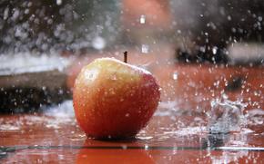 apple, water, spray