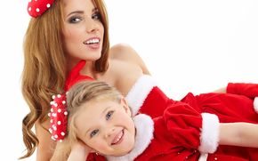 мама, дочка, улыбка, девочка, семья, подарок, костюм, девушка