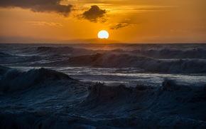 mare, tramonto, onde, paesaggio