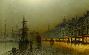 корабль, дома, река, набережная, причал, люди, огни, картина, ночь